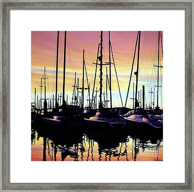 Harbor Sunset Framed Print by Elisabeth Sullivan