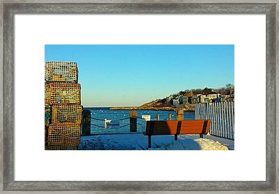 Harbor View In Winter Framed Print by Harriet Harding