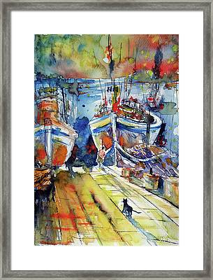 Harbor With Cats Framed Print