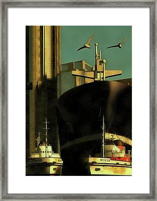 Harbor With Towboats Framed Print