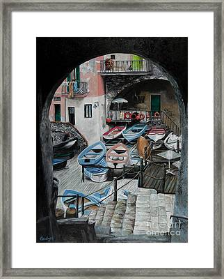 Harbor's Edge In Riomaggiore Framed Print by Charlotte Blanchard