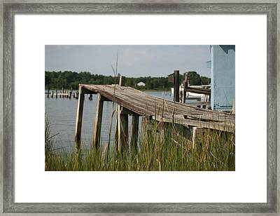 Harborton Dock Framed Print by Karen Fowler