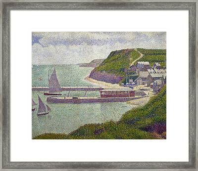 Harbour At Port En Bessin At High Tide Framed Print