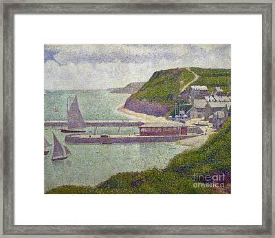 Harbour At Port En Bessin At High Tide Framed Print by Georges Pierre Seurat