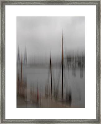 Harbour In The Fog Framed Print by Inge Riis McDonald