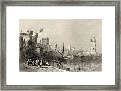 Harbour Of Rhodes, Greece. Engraved By Framed Print by Vintage Design Pics