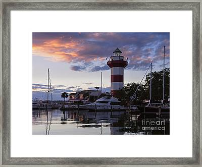Harbour Town At Sunset Hilton Head Island Framed Print