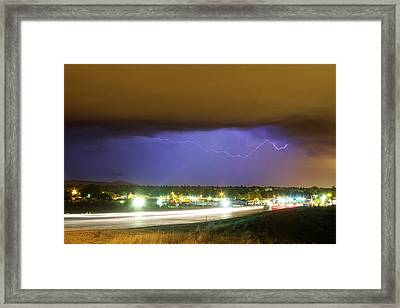 Hard Rain  Lightning Thunderstorm Over Loveland Colorado Framed Print