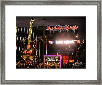 Hard Rock Cafe Las Vegas Strip At Night Framed Print by RicardMN Photography
