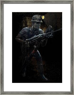 Hard Rock Mining Man Framed Print by Daniel Hagerman