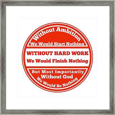 Hard Work Works Framed Print by FirstTees Motivational Artwork