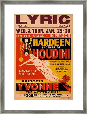 Hardeen Brother Of Houdini Framed Print by David Wagner