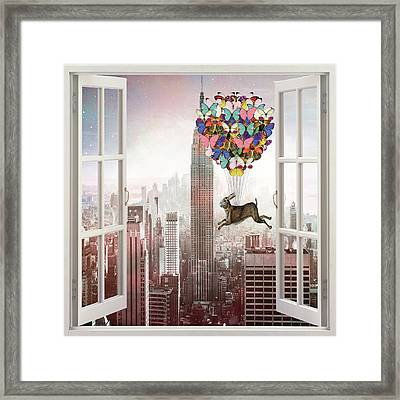 Hare In Nyc Framed Print by Suzanne Carter
