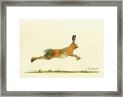 Hare Running Watercolor Painting Framed Print by Juan  Bosco