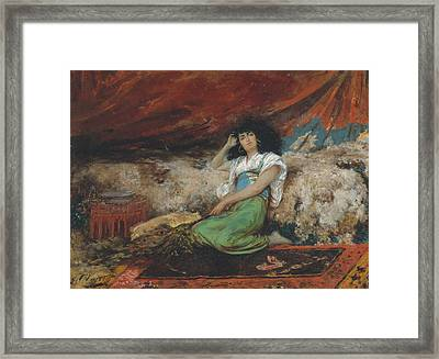 Harem Maid With Peacock Fan Framed Print