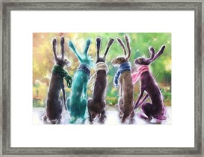 Hares With Scarves Framed Print