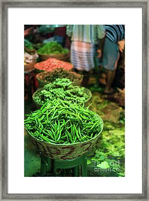 Haricots Verts For Sale In The Morning Market Framed Print