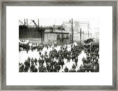 Harland And Wolff Shipyard, Belfast, Ireland With The Titanic Under Construction In The Background Framed Print