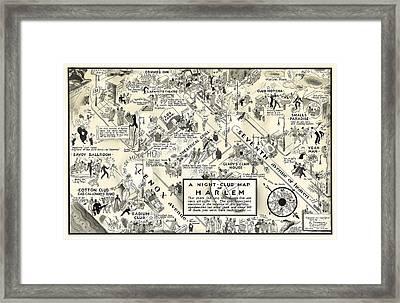 Harlem Prohibition Nightclub Map 1926 Framed Print