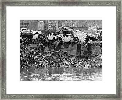 Framed Print featuring the photograph Harlem River Junkyard, 1967 by Cole Thompson