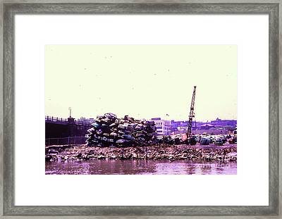 Framed Print featuring the photograph Harlem River Junkyard by Cole Thompson