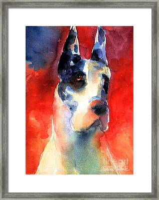 Harlequin Great Dane Watercolor Painting Framed Print