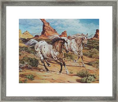 Harley And Ghost Walker Out For A Run Framed Print by Eden Alvernaz
