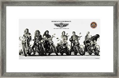 Harley Davidson, 100 Years Of Great Motorcycles, And The Cool Women Who Ride Them Framed Print by Thomas Pollart