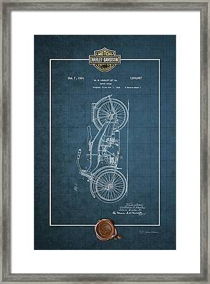 Framed Print featuring the digital art Harley-davidson 1924 Vintage Patent Blueprint With 3d Badge by Serge Averbukh