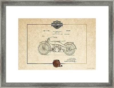 Framed Print featuring the digital art Harley-davidson 1924 Vintage Patent Document  by Serge Averbukh