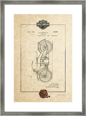 Framed Print featuring the digital art Harley-davidson 1924 Vintage Patent Document With 3d Badge by Serge Averbukh