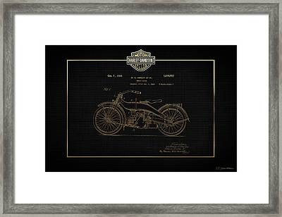 Framed Print featuring the digital art Harley-davidson 1924 Vintage Patent In Gold On Black by Serge Averbukh
