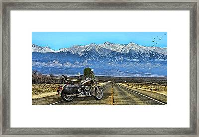 Harley Davidson Heritage Motorcycle On The Doorstep Of The Rockies, Colorado Framed Print by Thomas Pollart