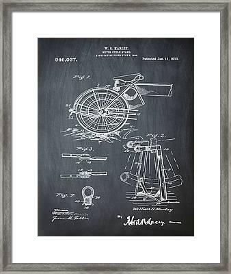 Harley Davidson Kickstand Patent 1910 In Chalk Framed Print by Bill Cannon