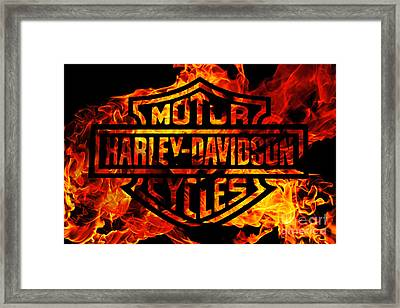 Harley Davidson Logo Flames Framed Print by Randy Steele