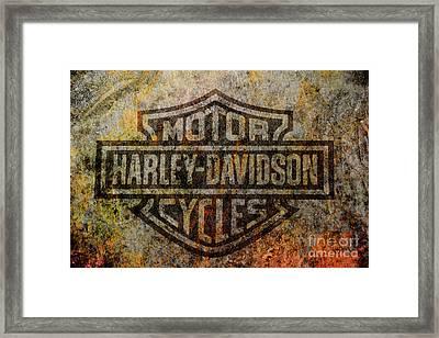 Harley Davidson Logo Grunge Metal Framed Print by Randy Steele