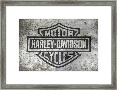Harley Davidson Logo On Metal Framed Print