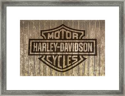 Harley Davidson Logo On Wood Framed Print