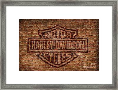 Harley Davidson Logo Red Brick Wall Framed Print by Randy Steele