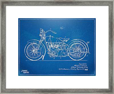 Harley-davidson Motorcycle 1928 Patent Artwork Framed Print by Nikki Marie Smith
