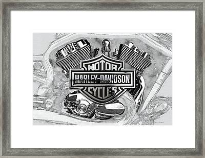 Framed Print featuring the digital art Harley-davidson Motorcycle Engine Detail With 3d Badge  by Serge Averbukh