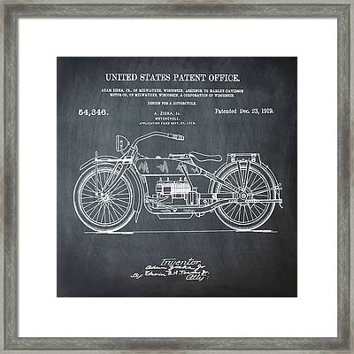 Harley Davidson Motorcycle Patent 1919 In Chalk Framed Print by Bill Cannon