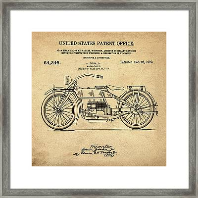 Harley Davidson Motorcycle Patent 1919 In Sepia Framed Print by Bill Cannon
