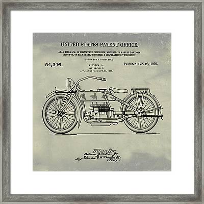 Harley Davidson Motorcycle Patent 1919 Weathered Framed Print by Bill Cannon