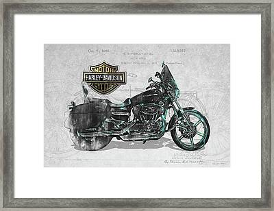 Framed Print featuring the digital art Harley-davidson Motorcycle With 3d Badge Over Vintage Patent by Serge Averbukh