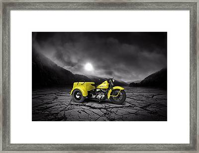 Harley Davidson Service Car 1942 Mountains Framed Print by Aged Pixel