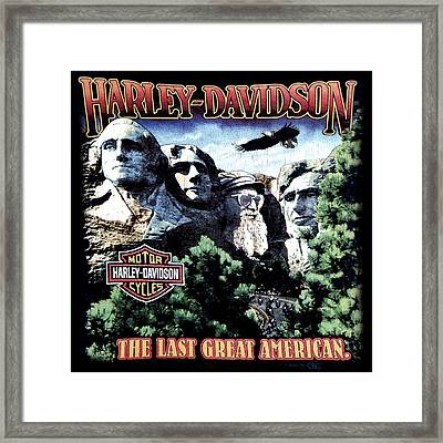 Harley Davidson The Last Great American Framed Print by Gina Dsgn