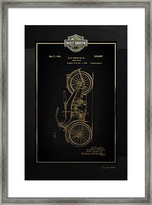 Framed Print featuring the digital art Harley-davidson Vintage 1924 Patent In Gold With 3d Badge On Black by Serge Averbukh