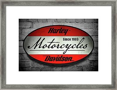 Harley Davidson Vintage Shop Sign  1903 Framed Print by Daniel Hagerman