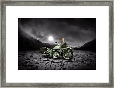 Harley Davidson Wla 1942 Mountains Framed Print by Aged Pixel